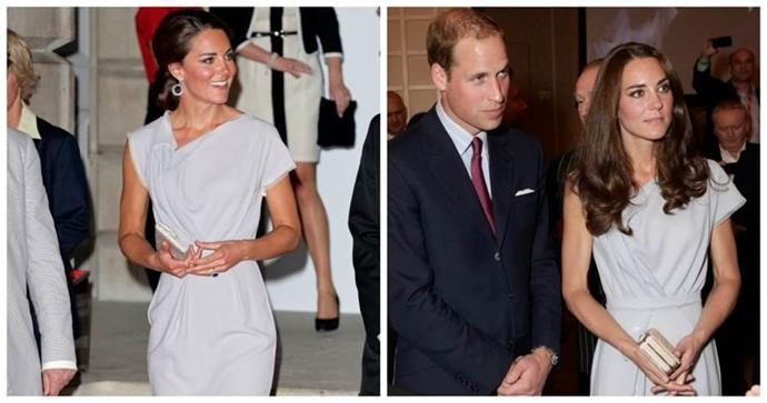 **Repeating outfits** <br><br> With all the attention on her style, it's a significant decision when Kate decides to wear the same look twice. Yes, she repeats staples like shoes and jewellery, but she's worn this particular Roksanda Ilinic dress to at least four major functions.