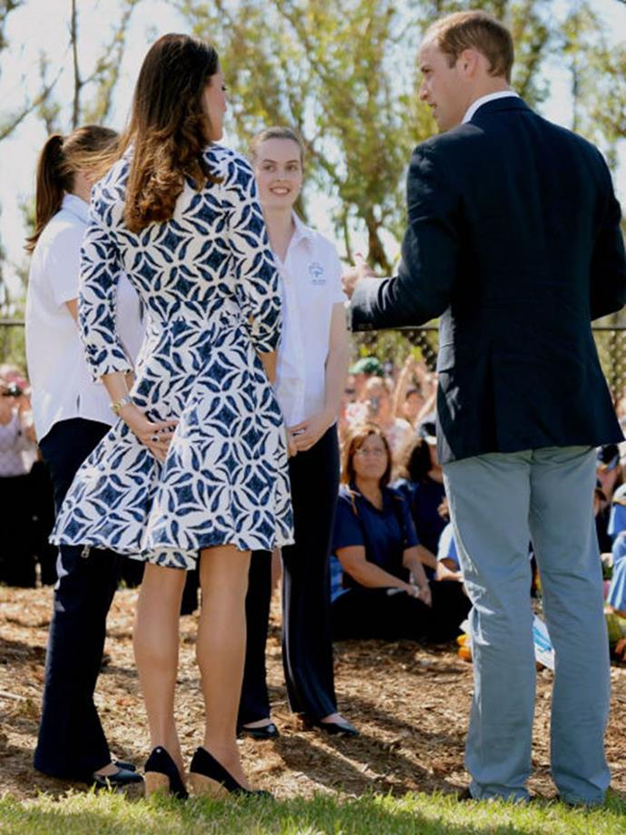 "**Forgoing weighted skirts**<br><br>  While in Australia, Kate had another skirt blow up in front of photographers, prompting the *New York Post* to say, ""Mooning the world is the most interesting thing Kate Middleton has done."""