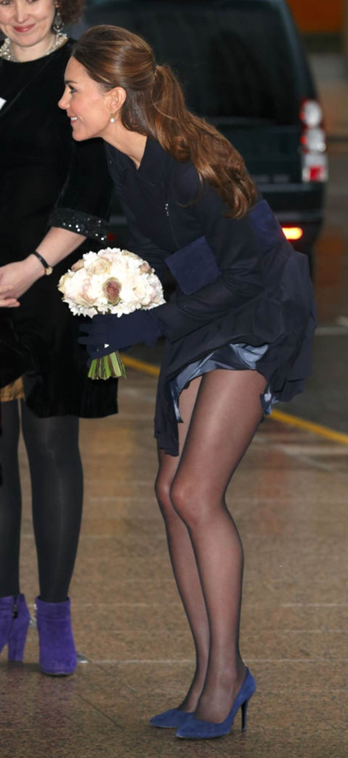 **Showing too much thigh**<br><br>  After yet another short skirt flapped up in the breeze, the Queen reportedly demanded a makeover for Kate in 2014, prior to her tour in Australia and New Zealand.