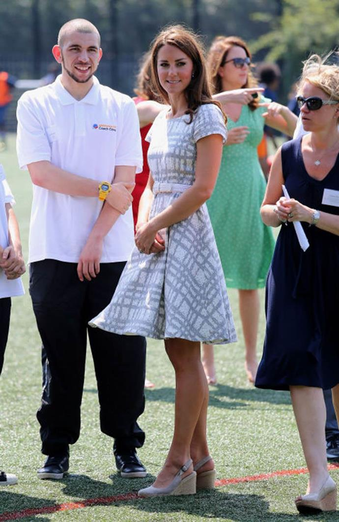 **Rocking too many wedges** <br><br> Along with her shorter hemlines, the Queen rung the death knell for Kate's ubiquitous wedges, her shoe of choice for many casual public appearances.