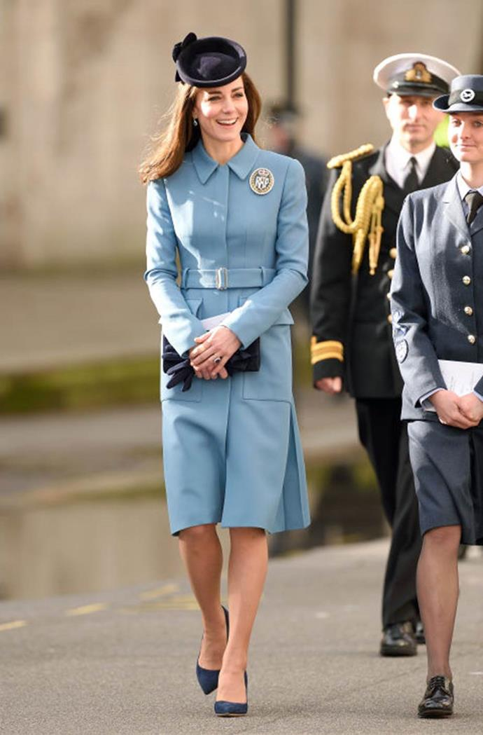 "**Being too buttoned up**<br><br>  *The Daily Mail* officially declared Kate the ""Duchess of Drab"" following the Queen's style makeover, calling out this coat dress in particular for being too stiff."