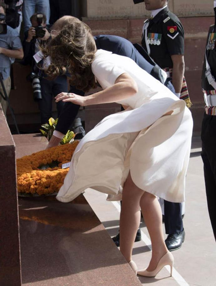 **Going Marilyn Monroe**<br><br>  In her most painful wardrobe malfunction to date, Kate's cream dress flew up while she was placing a wreath at a war memorial in Delhi, India.