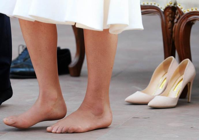 "**Being barefoot**<br><br>  The same day, Kate slipped off her shoes at the Gandhi Smiriti museum as a basic sign of respect — and was met with nervous breakdowns across the U.K. over her unpolished toes. ""Corns, clawed toes, bunions AND fallen arches,"" cried the *Daily Mail*."
