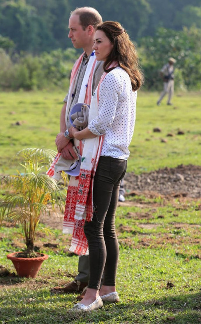 "**Going super-tight on safari**<br><br>  She's worn skinny jeans plenty of times, but her Zara trousers on safari in India were ""tight enough to accentuate more of Kate's assets than are acceptable for a Royal wife,"" sniffed one blogger."