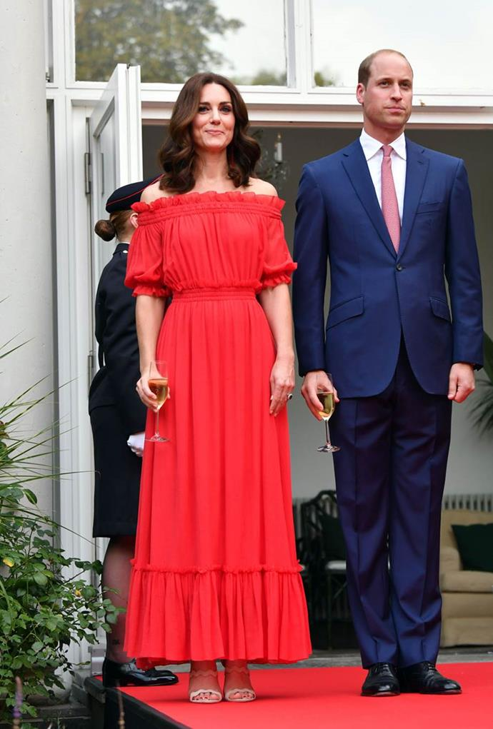 **Rocking off-the-shoulder**<br><br>  Kate proved she's not beyond the trends in an eye-grabbing off-the-shoulder Alexander McQueen gown, while on her royal tour of Eastern Europe.