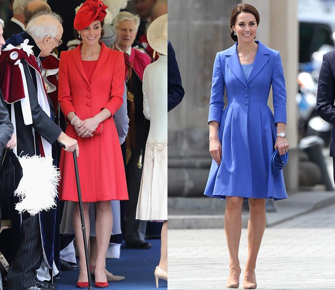 During her recent [tour of Poland and Germany](http://www.harpersbazaar.com.au/fashion/kate-middleton-royal-tour-of-poland-13798), Kate wore this blue Catherine Walker coat-dress, which she also owns in red (albeit with slightly different lapels). Kate even wore the same style of shoe for both occasions—the Gianvito Rossi 'Gianvito' pumps, on the left in 'claret' and on the right in 'praline'.