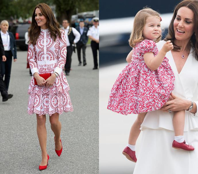 In matching red and white printed day-dresses.