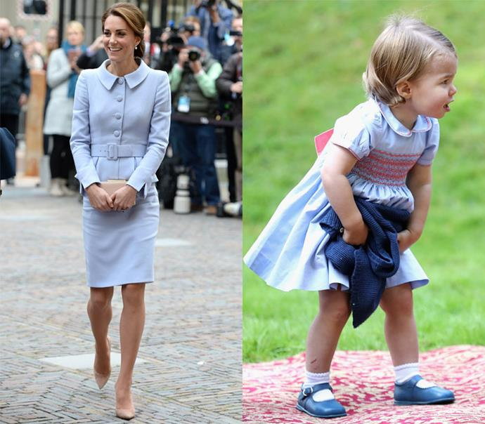In classic powder blue collared dresses.