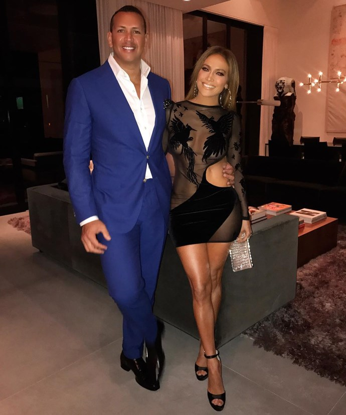 J.Lo wore a sheer black mini-dress to birthday celebrations with her boyfriend, Alex Rodriguez