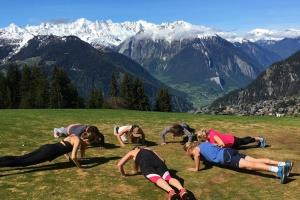 **Mountain Beach Fitness Retreats—Verbier, Switzerland** <br> <br> Looking for a workout with a view? Try this high-altitude training retreat in Verbier where you will undergo guided hikes, do yoga in the alpines and potentially even paraglide—if you fancy a pre-workout adrenaline rush! See more about Mountain Beach Fitness Retreats [here](http://www.mountainbeachfitnessretreats.com/locations/verbier/).