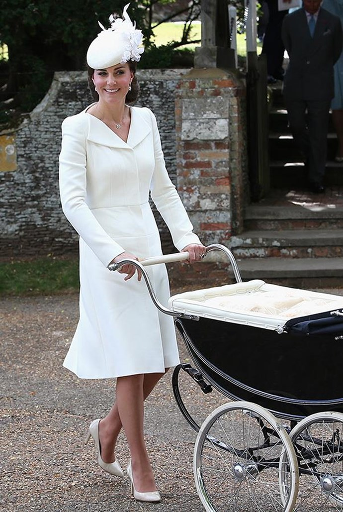 <strong>July 6, 2015</strong> <br><br> The Duchess of Cambridge first debuted this crisp white Alexander McQueen dress for her own daughter's christening.