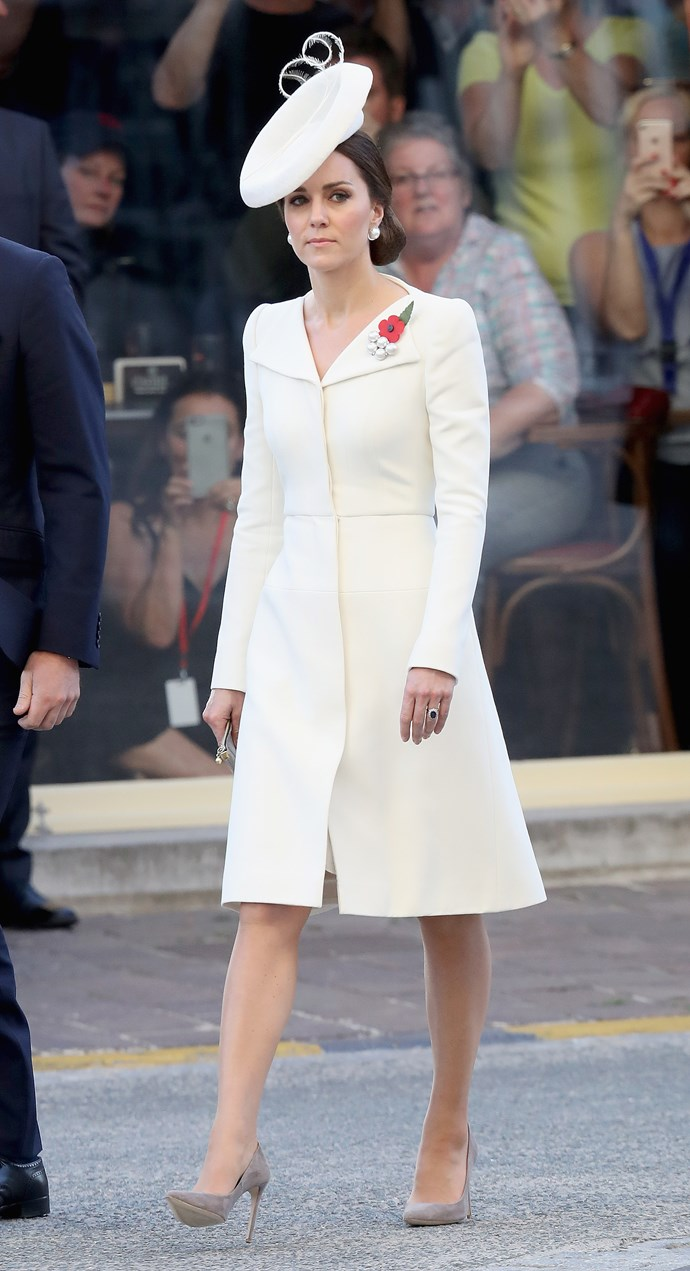 <strong>July 30, 2017</strong> <br><br> Fast-forward two years, the Duchess was spotted wearing the same white McQueen outfit to mark the centenary of the Battle of Passchendaele in Belgium.
