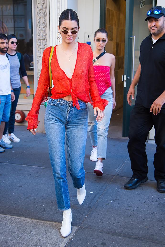 Kendall opted for high-waisted jeans and a sheer top by Australian label Bec + Bridge while out with Bella Hadid in New York city.