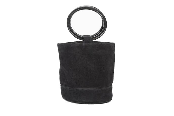 Bonsai Bag, $520, Simon Miller at [MyChameleon](https://www.mychameleon.com.au/bonsai-bag-black-nubuck) <br><br> Understated enough for everyday, yet elegant enough for a cocktail party—never underestimate the power of a great suede bag.