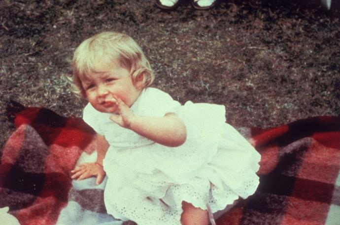 **1962**  Diana Spencer, the fourth child of Frances and Edward Althorp, was born on July 1, 1961. She would later gain the title Lady Diana Spencer after her father became the Earl Spencer in in 1975. Here she is pictured on her first birthday.