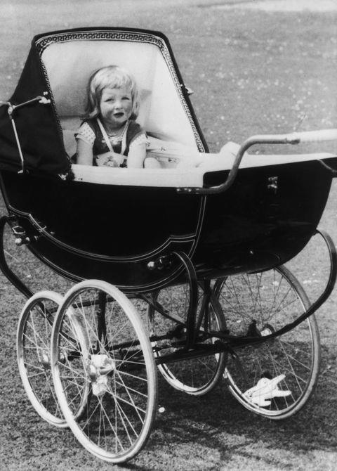 **1963**  Young Diana, pictured in her stroller at Park House, Sandringham in Norfolk, 1963. She was born into an aristocratic family; the Queen even attended her parents' wedding.