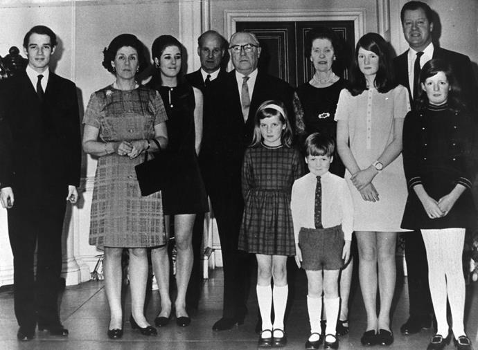 **1969**  A family photo taken at the 50th wedding anniversary of Diana's grandparents, the Earl and Countess Spencer. From left to right: Richard Wake-Walker, Lady Anne Wake-Walker, Elizabeth Wake-Walker, Christopher Wake-Walker, Earl Spencer, Countess Spencer, Lady Sarah Spencer, Viscount Althrop, Lady Jane Spencer. Diana Spencer and Charles Spencer stand in the front.