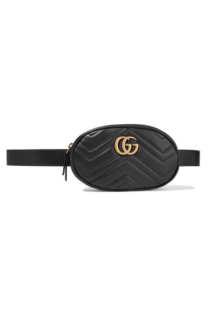 **Bum bag:** Your go-to childhood obsession is now the height of glamour, thanks largely to Bella Hadid, Kendall Jenner and Kim Kardashian having a bumper bum bag battle in the street style stakes. Style note: The 2017 version sees the bum bag move from the waist to the upper body, draped as a cross-body bag or nonchalantly flung over one shoulder, à la handbag. <br> <br> Bag, $1215, [Gucci at Net-a-Porter](https://www.net-a-porter.com/au/en/product/897735/Gucci/gg-marmont-quilted-leather-belt-bag).