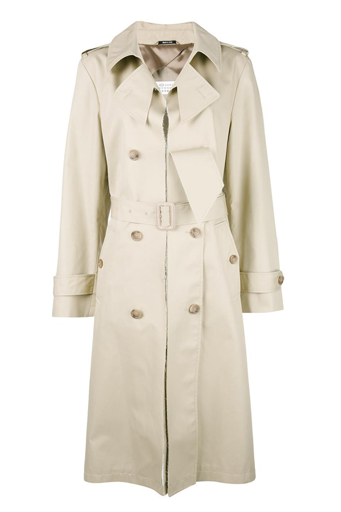 **Classic trench:** Rain or shine, the trench coat is an essential wardrobe staple for all French women. Lightweight and neutral in tone, the beige trench epitomises the French girl's pragmatic approach to fashion, able to be layered and reworked, no matter the dress code. <br><br> Coat, $1,797, Maison Margiela at [Farfetch](https://www.farfetch.com/au/shopping/women/maison-margiela-cut-out-lapel-trench-coat-item-11859742.aspx?storeid=9638&from=search&rnkdmnly=1)
