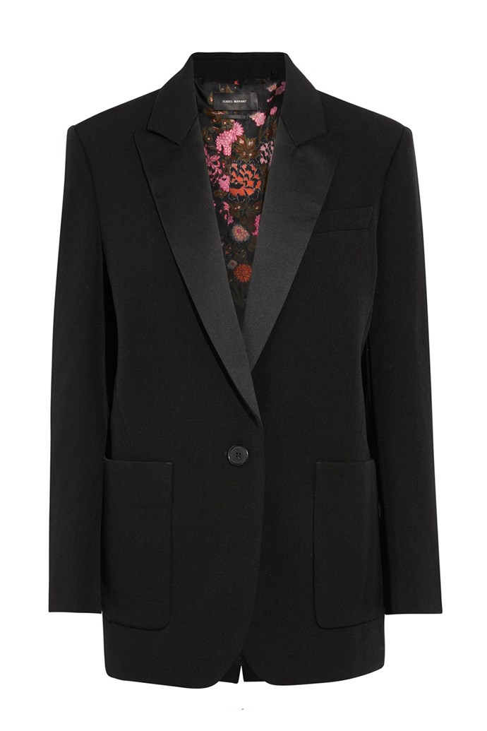 **Black blazer:** The black blazer can be worn with any item in the Parisienne woman's wardrobe, from skinny jeans to flirty florals. With a masculine cut and slightly oversized fit, the look is finished with rolled cuffs for that typically French *je ne sais quoi*.   <br><br> Blazer, $1,410, Isabel Marant at [Net-a-Porter](https://www.net-a-porter.com/au/en/product/915970/isabel_marant/laya-oversized-satin-trimmed-wool-twill-blazer)