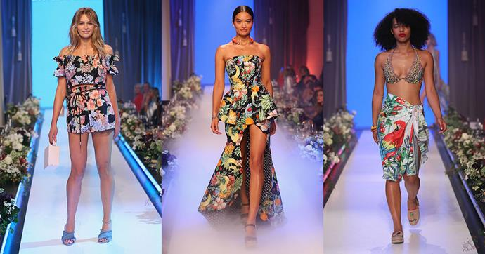 """**Club Tropicana**<br><br>  """"Bold stripes, oversized blooms and landscape-inspired prints in bold colourways take centre stage. Look for exposed shoulders and asymmetrical cuts which will turn up the heat."""""""