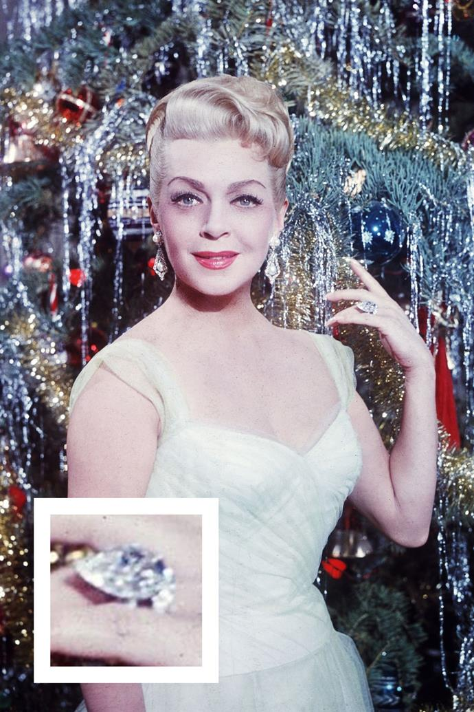 **Lana Turner** <br><br> The actress received this pear-shaped diamond from one of her eight husbands.