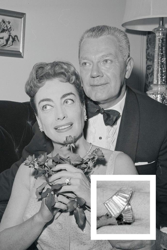 **Joan Crawford** <br><br> Alfred Steele forgot to purchase a wedding ring for Crawford before their nuptials, but soon bought her a diamond.