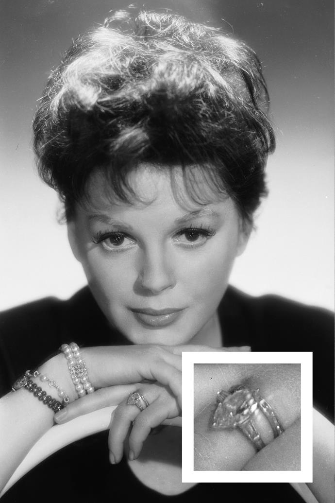 **Judy Garland** <br><br> Garland had a pear-shaped diamond ring.