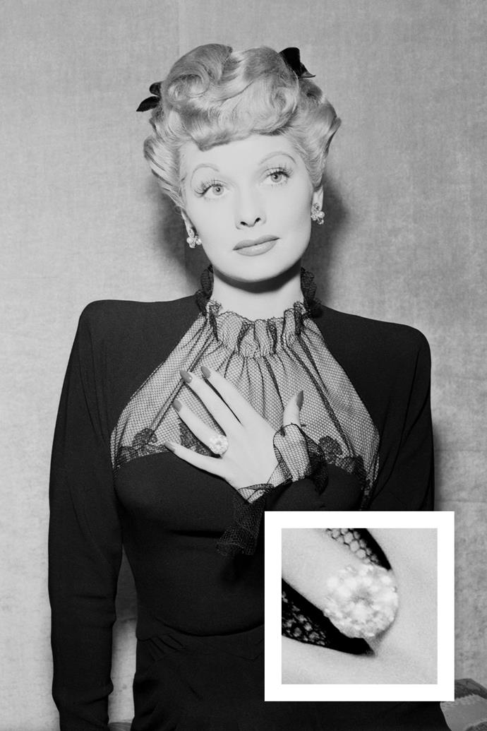 **Lucille Ball** <br><br> Ball received a brass ring from Desi Arnaz when they eloped, but he later upgraded it to a large cushion-cut diamond and platinum ring.