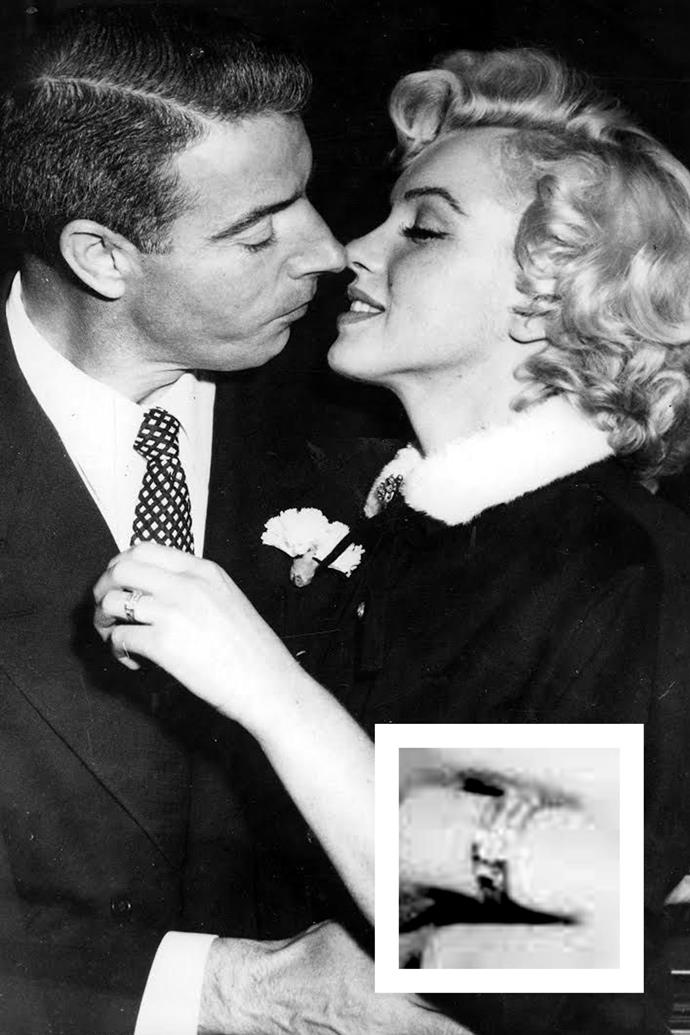 "**Marilyn Monroe** <br><br> On their wedding day, Joe DiMaggio gave [Marilyn Monroe](http://www.harpersbazaar.com.au/celebrity/marilyn-monroe-last-photo-shoot-before-death-13411|target=""_blank"") a platinum eternity band with 35 baguette-cut diamonds."