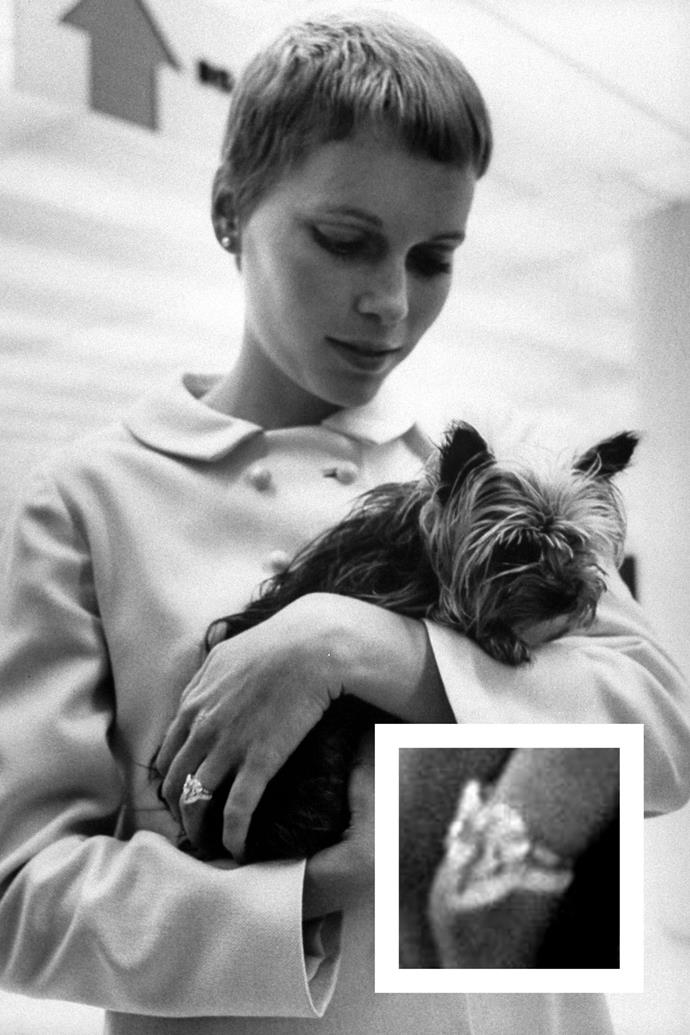 **Mia Farrow** <br><br> Farrow was given a 9-carat pear-shaped diamond ring from Frank Sinatra when he proposed in 1966.