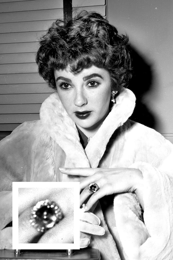 "**Elizabeth Taylor** <br><br> [Taylor](http://www.harpersbazaar.com.au/celebrity/the-quotable-aesthete-elizabeth-taylor-12146|target=""_blank"") had so many engagement rings that she necessitates a second mention. She received this [cabochon sapphire ring](http://go.redirectingat.com/?id=74968X1525074&site=elle.com&xs=1&isjs=1&url=http%3A%2F%2Fwww.townandcountrymag.com%2Fstyle%2Fjewelry-and-watches%2Fg9946978%2Fthe-best-sapphire-engagement-rings%2F&xguid=9cd9d1b144e4f42e06bc4709f142818d&xuuid=9d7de5bad89877a128080d2bf6c44fbc&xsessid=6b39d3a4d0e8afa830b25cb10dbcfbda&xcreo=0&xed=0&sref=http%3A%2F%2Fwww.elle.com%2Ffashion%2Fnews%2Fg30214%2Ffamous-engagement-rings-from-old-hollywood%2F%3Fthumbnails%3D&xtz=-600