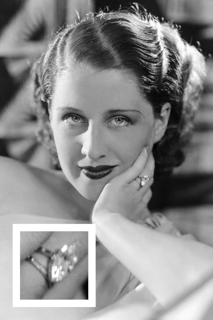 **Norma Sheaer** <br><br> MGM executive Irving Thalberg gave Sheaer a marquise-cut diamond ring when he proposed in 1927.