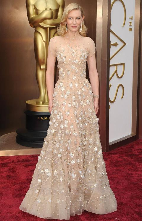 **CATE BLANCHETT IN ARMANI PRIVÉ—approx. $127,000** <br><br> Cate Blanchett's beautiful 2014 dress was adorned with hundreds of sparkling Swarovski crystals.