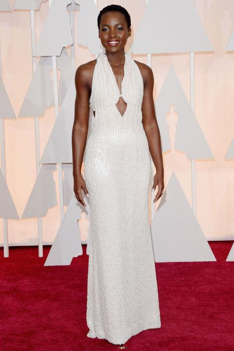 **LUPITA NYONG'O IN CALVIN KLEIN—approx. $190,000** <br><br> Lupita Nyong'o's Calvin Klein gown, worth approx. $190,000, was created using 6,000 pearls.