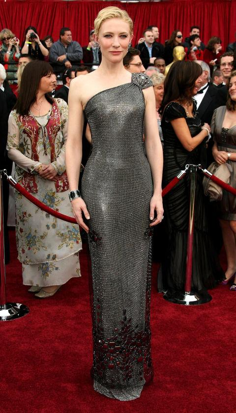**CATE BLANCHETT IN ARMANI PRIVÉ—approx. $250,000** <br><br> The  gunmetal gown Blanchett wore to the 2007 Oscars came fully embellished with Swarovski crystals. It was valued at approx. $250,000.