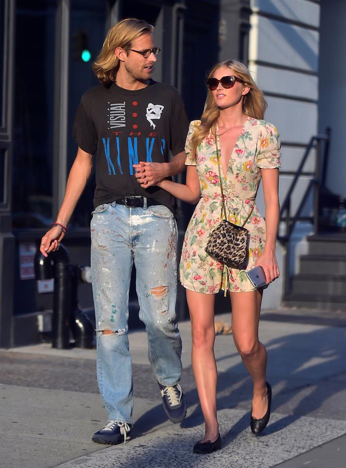 Victoria's Secret Angel **Elsa Hosk** keeps it simple while out in New York city in a printed tea dress and ballet flats.