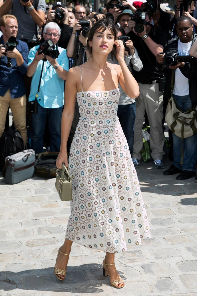 French It-Girl **Jeanne Damas** makes a case for the bustier dress in this dreamy number, which she wore to the Christian Dior haute couture show in Paris last month.