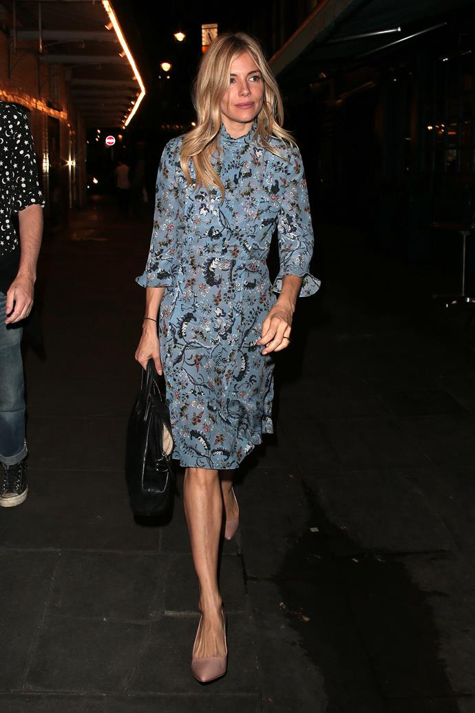 **Sienna Miller**'s latest turn on London's West-End has earned her rave reviews, and has given us plenty of impressive off-stage looks. This printed blue mini dress is a highlight.