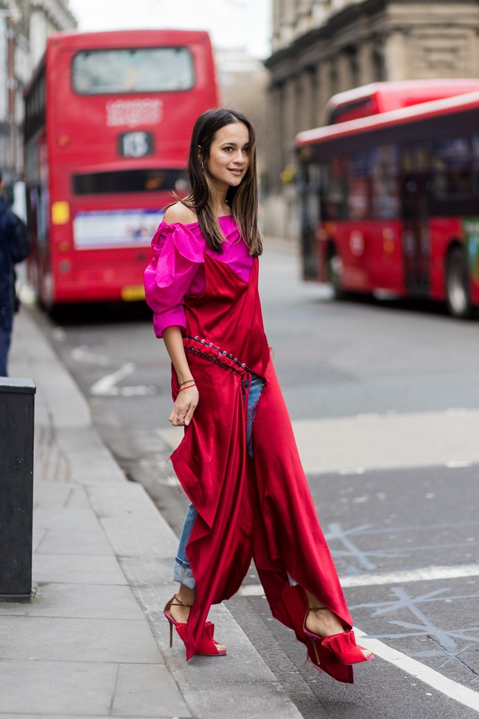 A showgoer at London Fashion Week