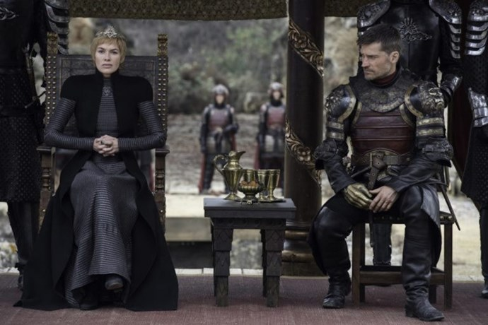 Cersei and Jaime are back together, with Jaime looking perplexed and slightly concerned about his sister's (no-doubt) evil plan that is coming to fruition in this scene. It is also important to note that their chairs are together and equal—Jaime is not standing behind her as a Kingsguard normally does. This may indicate the pair have 'come out' as a couple and their incest is out in the open.
