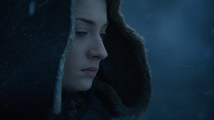 Sansa Stark, alone and cold in Winterfell. This suggests that she is not going to attend the meeting with Cersei and Jon Snow, but as we have no visual conformation on Brienne's attendance on her behalf, we can't be sure.