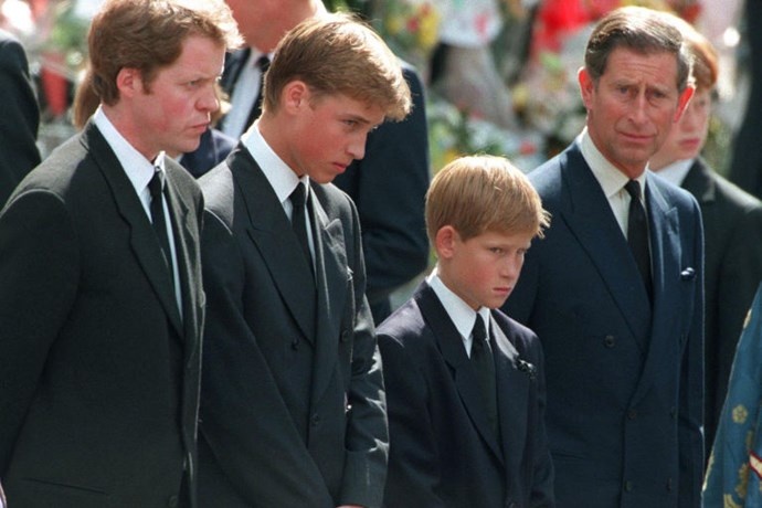 Princes William and Harry with Prince Charles and Earl Spencer.