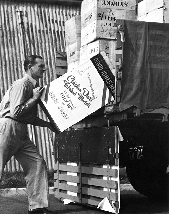 Dior boxes arriving in Sydney for the Christian Dior parade to be shown at David Jones, July–August 1948. Dior Heritage collection, Paris. All rights reserved.