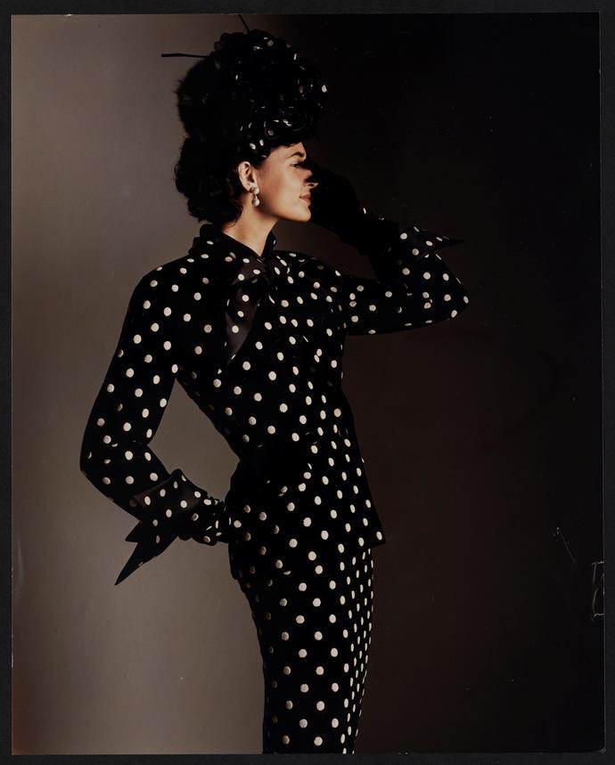 Christian Dior, Paris (fashion house); Gianfranco Ferré (designer) *Disney, evening suit* 1989. Ascot – Cecil Beaton collection, autumn−winter 1989–90. Dior Heritage collection, Paris. Photo © Giovanni Gastel.
