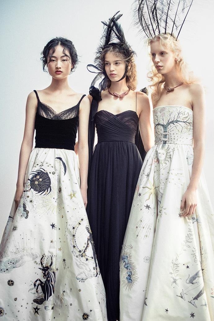 Christian Dior, Paris (fashion house); Maria Grazia Chiuri (designer) Models wearing spring−summer 2017. Dior Heritage collection, Paris. Photo © Morgan O'Donovan.