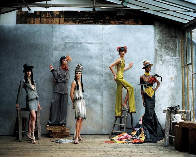 Christian Dior, Paris (fashion house);John Galliano (designer) Models wearing spring−summer 1997, featured in *US Vogue*, April 1997. Dior Heritage collection, Paris. Photo © Peter Lindbergh. Models: Christina Kruse, Shalom Harlow, Carolyn Murphy, Ling Tan and Debra Shaw.