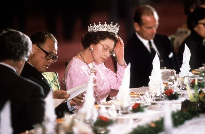 **NO ONE CAN EAT AFTER THE QUEEN HAS FINISHED HER MEAL.** <br><br> When dining as a family, after the Queen has taken her last bite, everyone needs to stop eating.