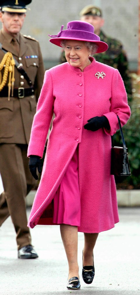 **THE QUEEN'S WARDROBE MUST BE BRIGHT.** <br><br> The Queen is known for her bright, neon-coloured outfits, as she likes to make sure she can be easily spotted in large crowds.