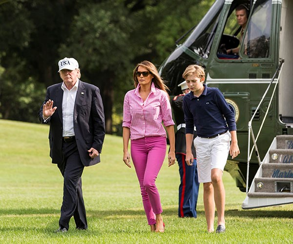 In a J. Crew top with J Brand pink trousers and matching Manolo Blahnik flats in Washington, D.C. The relatively affordable top (in comparison to what the First Lady normally wears) is already sold out.